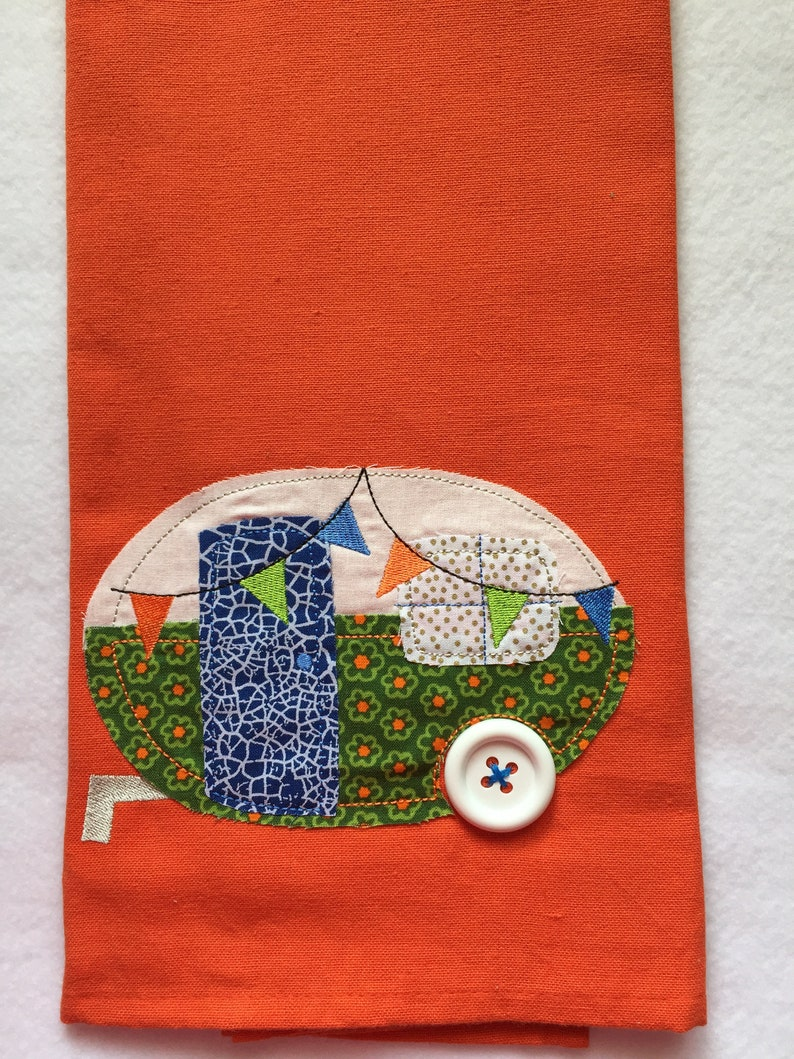 Camper Appliqued Kitchen Towel image 0