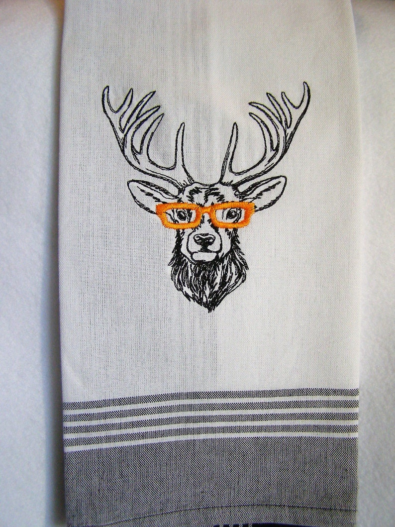 Reindeer with Glasses Kitchen Towel image 0