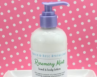 Clearance Sale // ROSEMARY MINT Hand and Body Lotion // Vegan - Organic Coconut Oil and Shea Butter - No Parabens or Sulfates - 8 ounces