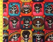 La Señoras Elegantes Dark Tea - Alexander Henry Fabric - Day of the Dead, Sugar Skulls, Skull ( Yard or Half Yard )