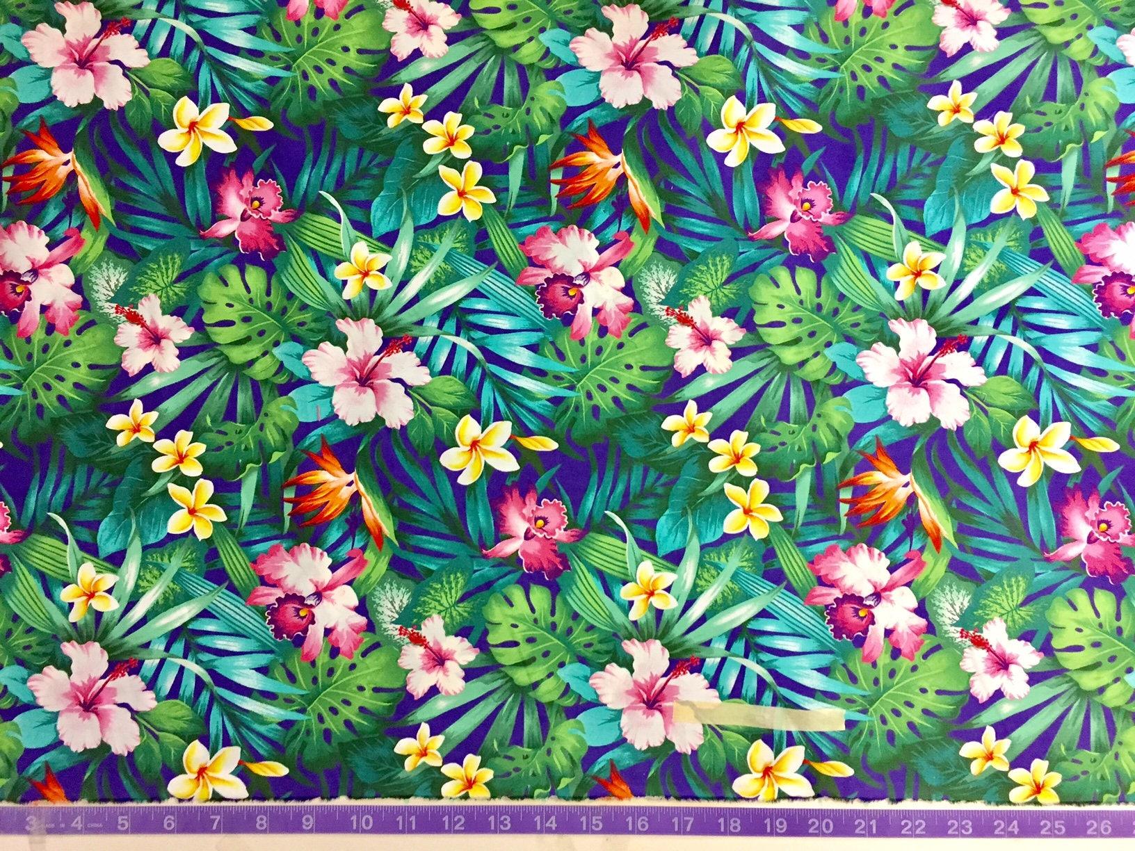Hawaiian tropical flowers purple fabric hibiscus orchids etsy zoom izmirmasajfo