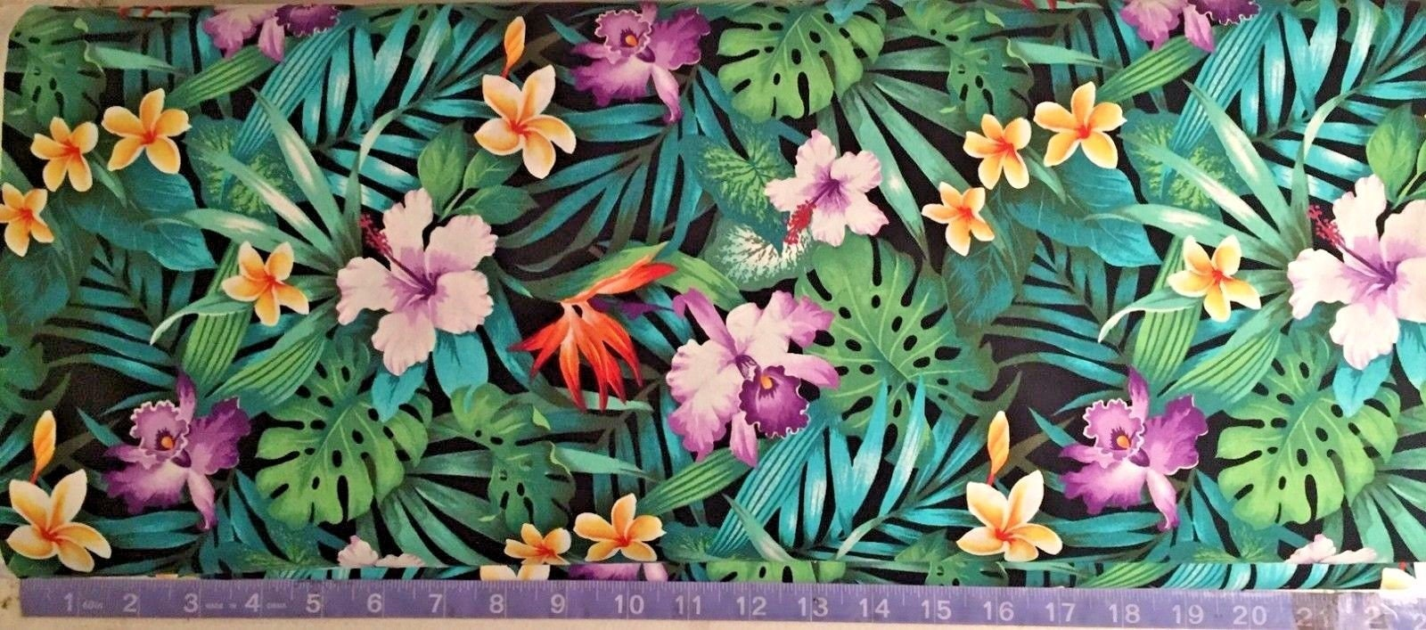 Hawaiian Tropical Flowers Black Fabric Hibiscus Orchids Etsy