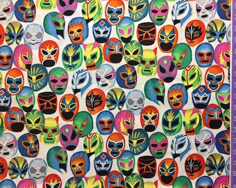 Lucha Libre - Máscaras de Peleá - Fabric Wrestling, Alexander Henry ( Yard or Half Yard )