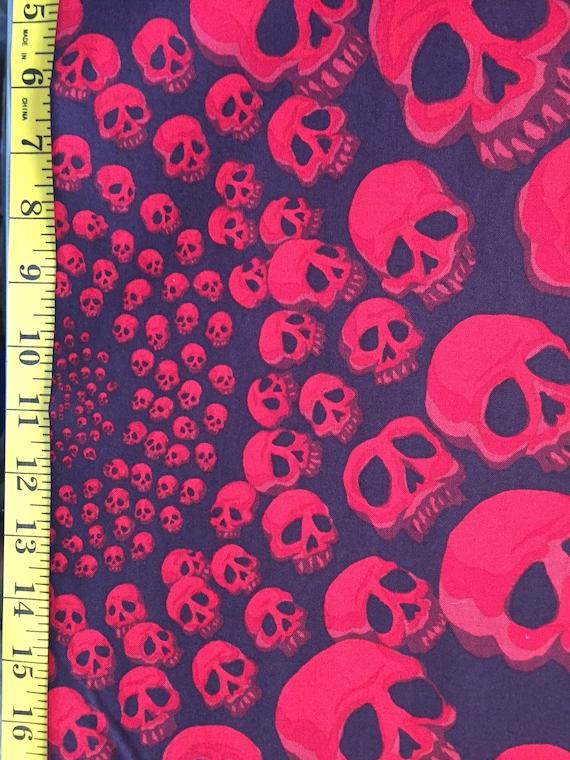 Alexander Henry Fabric RED Skulls Skull Infinity Skullfinity Half Yard