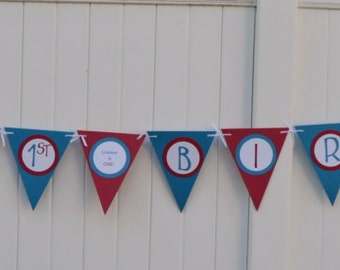 Circus, Happy Birthday banner, 1st, Circus party