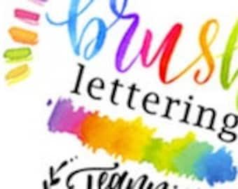 Watercolor Brush Lettering  worksheets Lower-case Alphabet + Practice Drills plus Tips - DIGITAL PDF File Only