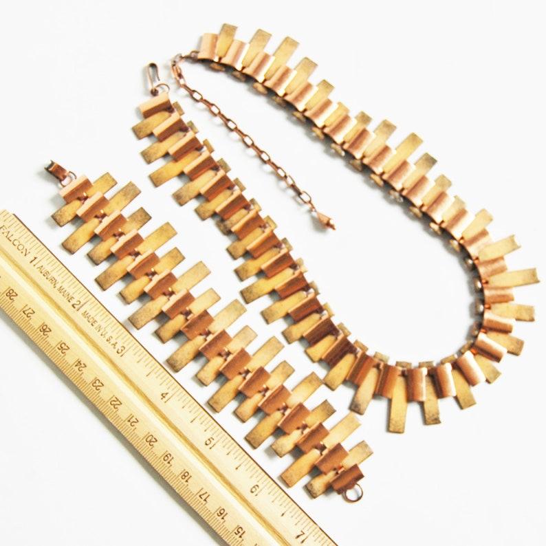 Vintage 1950s Tan Enamel on Copper Necklace Mid Century Modernist Choker and Bracelet Set Peter Pan Demi Parure Renoir Matisse