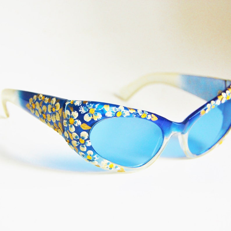 1950s Samco Italy Sunglasses Blue Cat Eye Vintage Lucite Hand Painted Flowers
