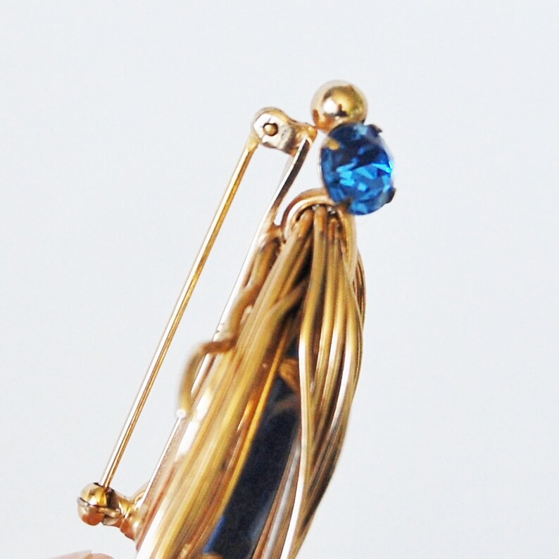 Vintage Napier Rhinestone Bug Brooch Cobalt Blue and Gold Tone Large Insect