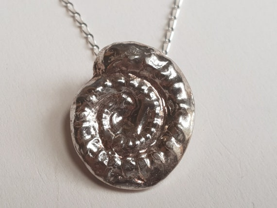 LARGE Silver Set Madagascan Ammonite Necklace With Moonstone