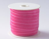 """Bright Hot Pink Velvet Ribbon, 1/4"""" and 3/8"""". Sold by the yard or Whole spool. R3-010"""