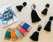 DIY Tassel Making Kit.  Make your own large or mini tassels with cream cotton rope and waxed neon twine. craft kit, Block colour tassels
