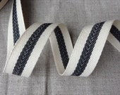 "3/4"" Cotton Twill tape ribbon with a woven centre black stripe, 50 yards x herringbone french cotton ribbon, 1.8cm wide"