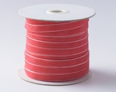 "Desert Rose Pinky Red Velvet Ribbon, 1/4"" and 3/8"". Sold by the yard or Whole spool. R3-014"
