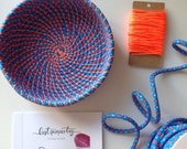 Coil rope bowl tutorial and materials. Woven rope basket making kit and instructions DIY, sewing kit tutorial