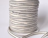 50 yards, cream herringone tape with double stitch lines in black, cotton ribbon sewing twill tape