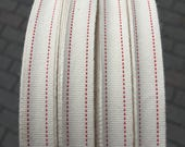"""3/8"""" cream ribbon with Red Stitched Cotton Herringbone tape with saddle stitch , cotton ribbon sewing tape, sewing ribbon / cotton"""