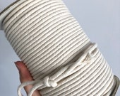 """4mm Macrame cord (3/16"""") soft and flexible with a cotton inner core, cotton Macrame cord, macrame rope, Cream cotton rope for macrame #252"""