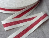 """3/4"""" Twill tape ribbon with a woven centre red stripe, 50 yards x herringbone french cotton ribbon, 1.8cm wide"""