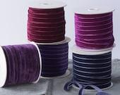 "Purple Velvet ribbon. Whole Spool. 3/8"" and 1/4"" Royal, Orchid, Lavender and Mauve ribbons"