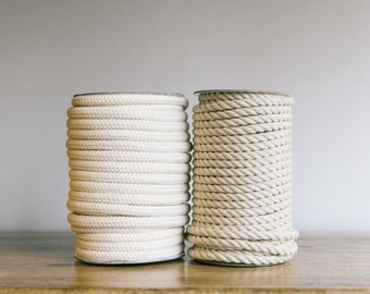 Cream cotton braided rope, Natural Rope / Cream Cotton Rope / Rope basket, Rope decoration / Spool of braided cream rope