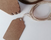 100 medium Brown kraft card swing tag / price tag label, gift tag, wedding favour tags, scalloped edge, name label
