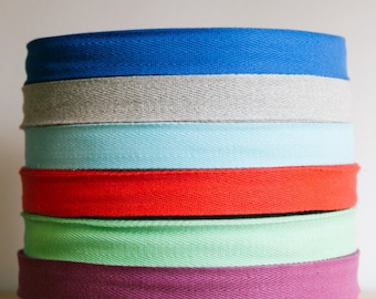 """1""""  cotton twill tape, herringbone tape, 50 yard roll, over 200 colour choices. Wholesale ribbons / apron ties / flat tape."""