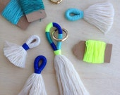 Tassel Making Kit and instructions, DIY craft.   Make your own tassels or key chain with our tutorial, DIY Craft kit,  block colour tassels.