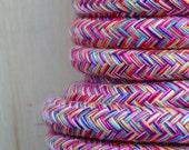 Cotton plaited rope in multi colours with nylon core.  For rope crafts, coil rope bowls and baskets. 8mm, 10mm and 13mm widths available