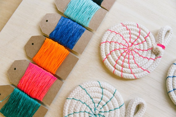 Rope coasters craft kit diy tutorial colour instructions etsy image 0 solutioingenieria Gallery