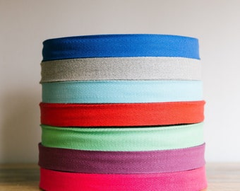 """1""""  cotton twill tape, herringbone tape, 50 yard roll, over 200 colour choices. Wholesale ribbons / apron ties / 25mm cotton tape"""