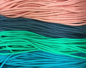 "1/8"" (4mm) round cotton cord, drawcord / sold by the yard / wholesale rope / macrame supplies / cotton rope / coloured rope / string"
