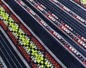 Navy Ethnic Woven Cotton Fabric / Bohemian cloth / Mexican weave / Jacquard woven fabric / Picnic blanket cloth