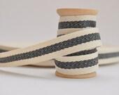 twill tape cream with a black centre stripe woven herringbone twill sewing tape ribbon