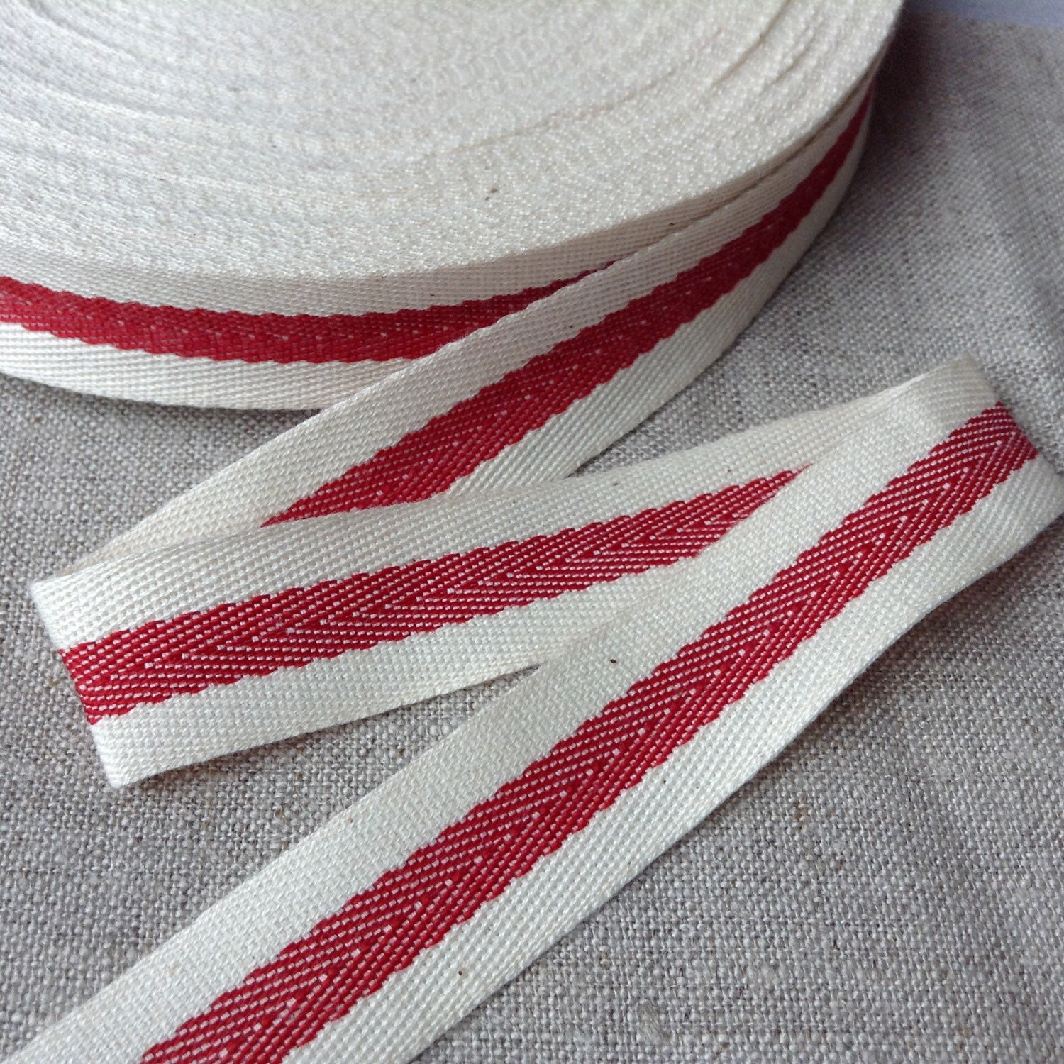 3/4 Twill tape ribbon with a woven centre red stripe 50 | Etsy