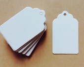Small white blank tags, Plain white card swing tag, hang tag, white tags, price tag label, gift tag, wedding favor tags, scalloped edge.