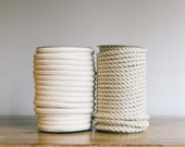 1 roll of 8mm, soft jute and cotton mix twisted rope, 22 yards per roll, (or cream plaited) Nautical twisted rope, silver rope, natural rope