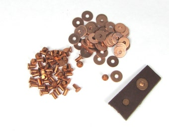 copper rivets, flat top rivets, flat head rivets, includes washers,  3/32 x 3/16,  leather fastening,  50 pack, rivet leather