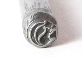 Squirrel design 5x5mm stamp for silver jewelry stamping of charms
