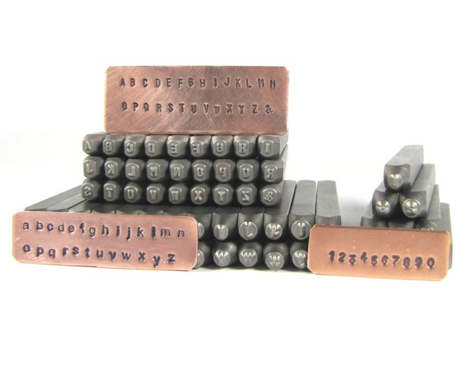 Steel letters, 2 mm Arial, both upper and lower case, sets with numbers, hand stamping alphabet