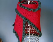 Red Wool Shawl with Green...