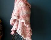 Ruffled Pink Acrylic Shawl