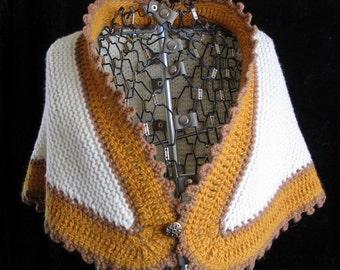 White Wedding Shawl with Gold Edging