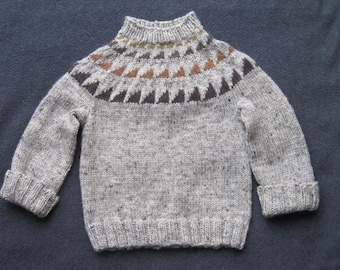 Children's Tweed Wool Sweater with Naturally Dyed Sawtooth Pattern