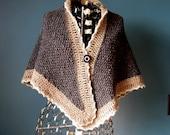 Dark Gray Wool Shawl Naturally Dyed