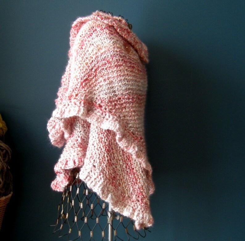 Ruffled Pink Acrylic Shawl image 0