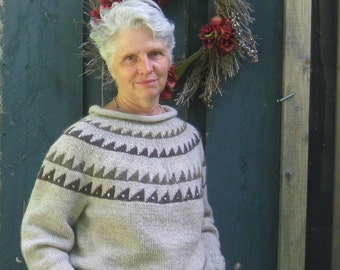 Gray Pullover Wool Sweater with Patterned Yoke Custom Orders Only