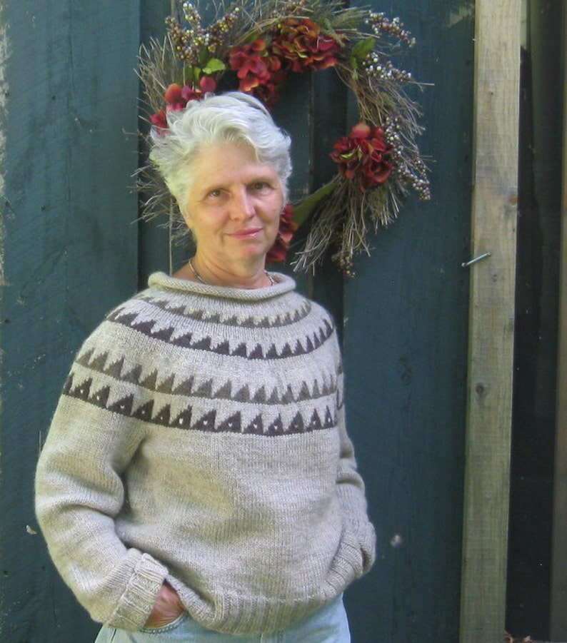 Gray Pullover Wool Sweater with Patterned Yoke Custom Orders image 0