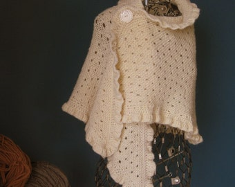 Ivory Wool Wedding Shawl with Ruffled Edge