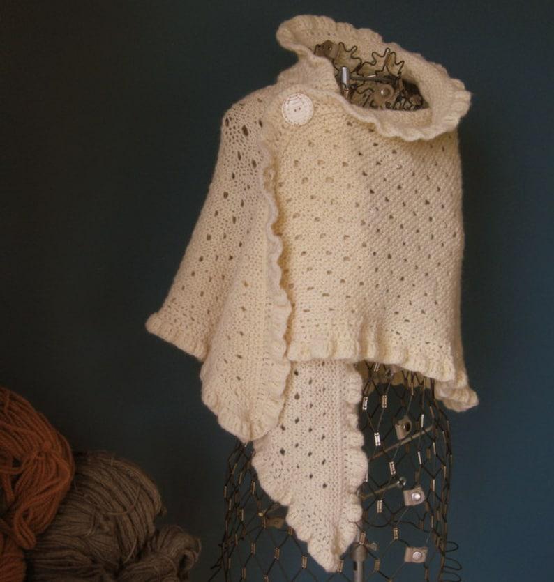 Ivory Wool Wedding Shawl with Ruffled Edge image 0